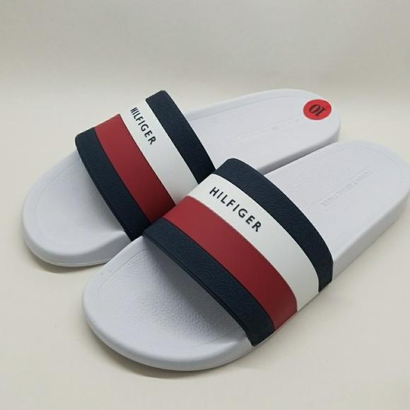 eb2586523f1768 Tommy Hilfiger Earthy White Slide Sandals Mens